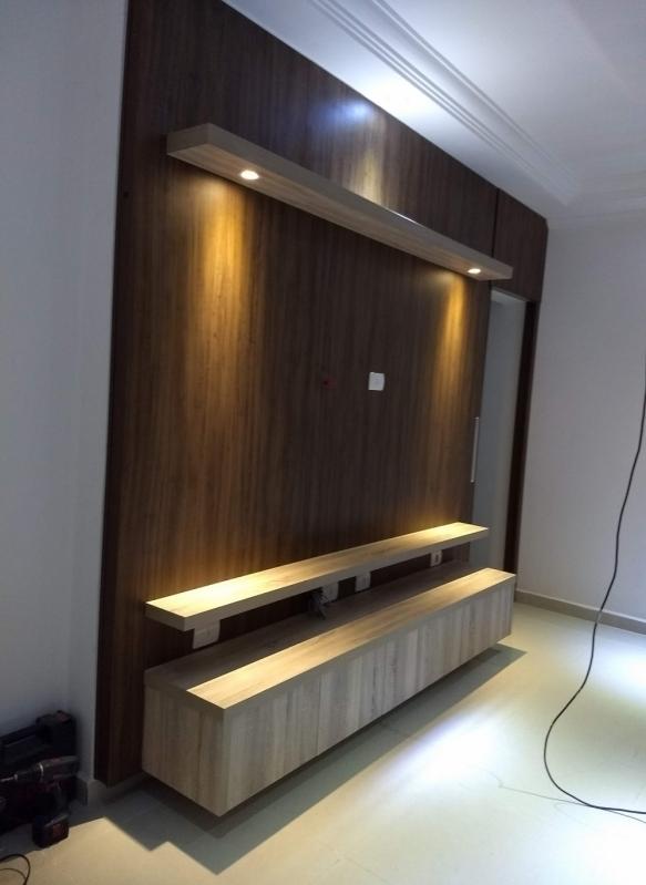 Home Theater Planejado para Sala Pequena São Miguel Arcanjo - Home Theater Planejado com Espelho