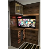 home theater planejado com bar valor Vila Haro